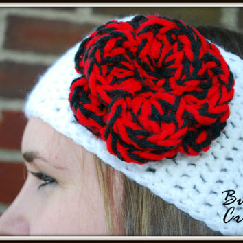 Crochet Headband Earwarmer Accessory Warm for Fall Winter with Flower Multiple Color Christmas Gift Cincinnati Bearcats Reds Atlanta Falcons