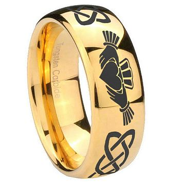 10MM Dome Irish Claddagh 14K Gold IP Shiny Tungsten Carbide Men's Ring