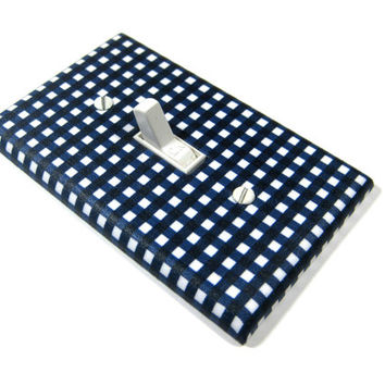 Navy Blue Gingham Nursery Decor Light Switch Cover Boys Bedroom Switchplate Outlet