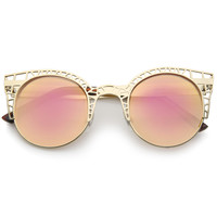 Women's Laser Cut Mesh Mirror Lens Cat Eye Sunglasses A497