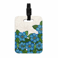 "Art Love Passion ""Blue Flower Field"" Beige Blue Decorative Luggage Tag"