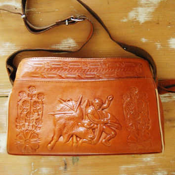 The Matador - VIntage 60s Tooled Leather Purse Brown Bag Handbag Mexico