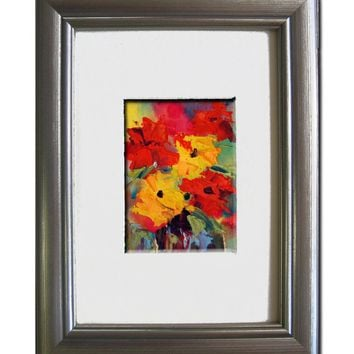 Original Abstract Floral ACEO painting, art trading card, ATC, 2.5 by 3.5 in - Abstract Flowers 2 ACEO, Gouache painting