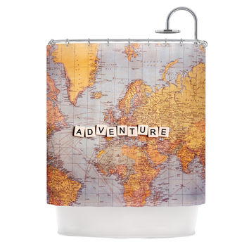 "Sylvia Cook ""Adventure Map"" World Shower Curtain"