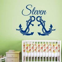 Wall Decals Vinyl Decal Sticker Marine Monogram Custom Boy Personalized Name Baby Captain Anchor Interior Design Bedroom Living Room Kids Nursery Baby Room Decor