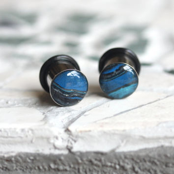 00g Single Flare Plugs, Blue Ear Plugs, 10mm Plugs, Polymer Clay Plugs, Stretched Ears - size 00g (10mm)