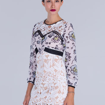 White Color Block Floral Lace Shift Dress