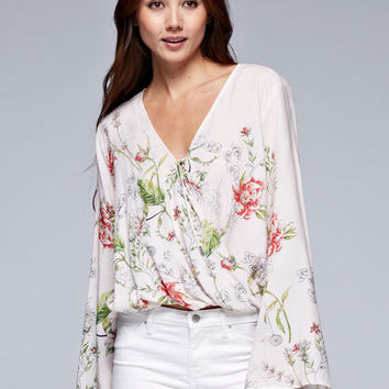 Bell Sleeve Floral Print Crossover Blouse