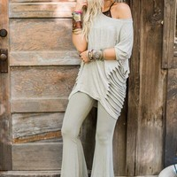 Cher Ribbed Flare Pants - Sage
