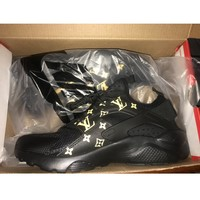 LV x Supreme x Nike Air Huarache 4 Black Men Women Mesh Hurache Sport Running Shoes  Casual Shoes Sneakers 819685-106 - Best Online Sale