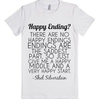 happy ending-Female White T-Shirt