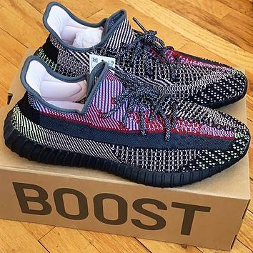 ADIDAS x Off White Yeezy Boost 350 V2 Woman Men Fashion Sport Sneakers Shoes Black Chameleon