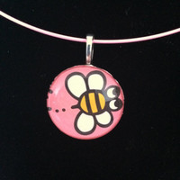 Hello Kitty Bumble Bee Pendant Necklace - 1 inch Glass Circle