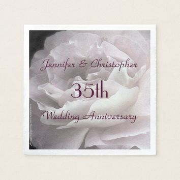 Pink Rose Paper Napkins, 35th Wedding Anniversary Napkin
