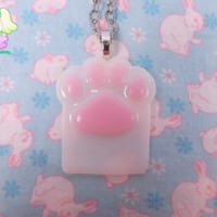 Kawaii Cat Paw Necklace - Pink and White