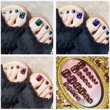 24pcs Toe Nails Metallic color change Fake nails with designs Full Cover Finished Feet Patch  A211