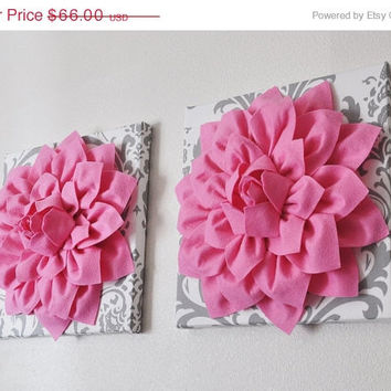 "MOTHERS DAY SALE Two Wall Flower Hangings -Pink Dahlia on White and Gray Damask 12 x12"" Canvas Wall Art- Baby Nursery Wall Decor-"