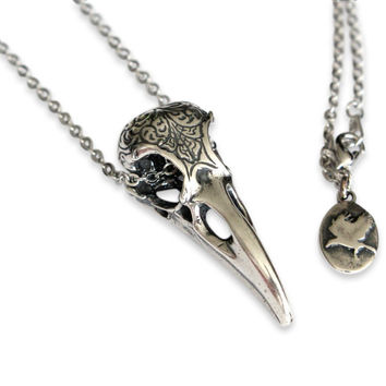 Raven Skull Necklace, Solid Sterling Silver Raven Necklace, Engraved Bird Skull Pendant Necklace 313