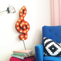 """24"""" Treble Clef Music Vintage Marquee Lights Sign (Rustic)"""