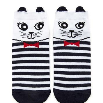 Cat Face Stripe Ankle Socks