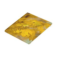 Yellow autumn maple leaves. Add you text or name. Glass Coaster