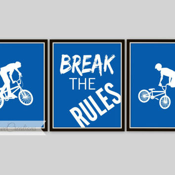 BMX Prints - Bike Rider Wall Art, 3 Piece Set, BMX Typography, Break The Rules, Teen Room, Nursery Decor, Children's Room, Playroom Decor