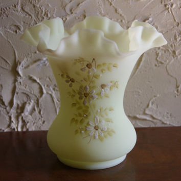 Vintage 1970s Fenton Satin Custard Glass Vase With Hand Painted Floral Motif Artist Signed J Andrick