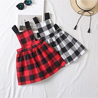 Casual Baby Girls Plaid Dress