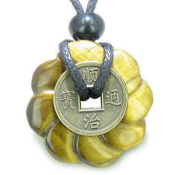 Lucky Coin Celtic Lotus Flower Amulet Tiger Eye 30mm Donut Pendant Necklace
