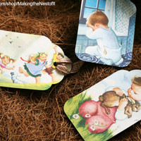 Praying Children tags from Children's Book Illustrations - Set of 3