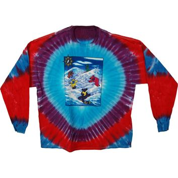 Grateful Dead Men's  Snow Bears Tie Dye  Long Sleeve Multi