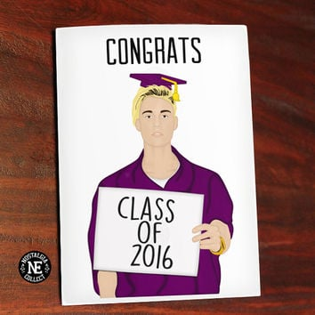 Congrats Class of 2016 - Justin Bieber Holding Sign with Graduation Cap and Regalia - Greeting Card 4.5 X 6.25 Inches