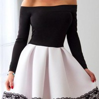 Long Sleeve White and Black A Line Short Prom Dress,Cheap Homecoming Dresses OKC90