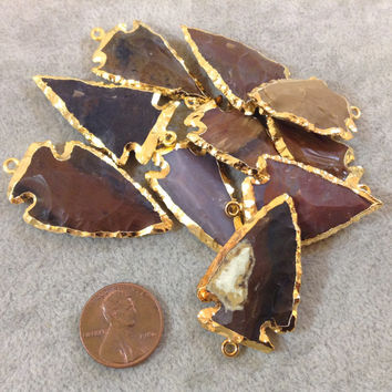Small Gold Plated Jasper Arrowhead Pendant - Assorted