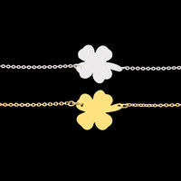 B023 Stainless Steel Silver Bracelets & Bangles Gold Plated Pulseras Mujer Four Leaf Clover Good Luck Charm Bracelets For Women