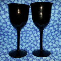 A Set of Tall Long Stem Black Amethyst Wine Goblets Wine Glasses