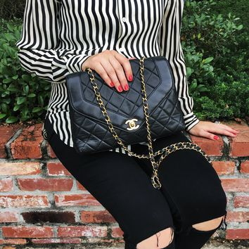 CHANEL Black Lambskin Quilted Flap Crossbody Bag