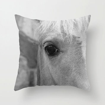 Horse Pillow Cover, Black and White, Horse Photograph, Fine Art Photo, Country Home Decor, Girls Room Decor, Rustic Home, Horse Decor, Gray