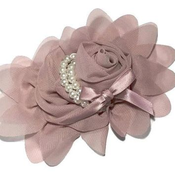 "Mauve 4.5"" X 4"" chiffon rolled rose with pearl stands"