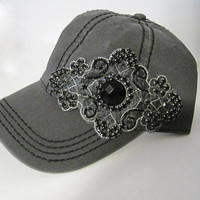 Charcoal Grey Trucker Baseball Cap with Black Stitching and Gorgeous Black Silver Beaded Appliqué Hats Accessories Trucker Baseball Caps