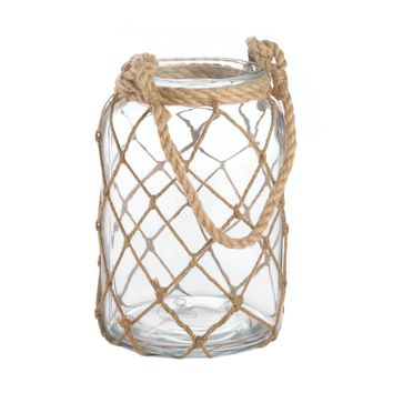 Glass And rope Large Fisherman Net Candle Holder Lantern