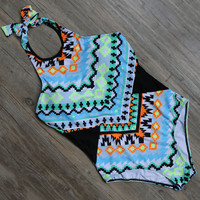 Print One Piece Swimsuit Backless Swimwear High Neck Bandage Bathing Suit Monokini Bodysuit