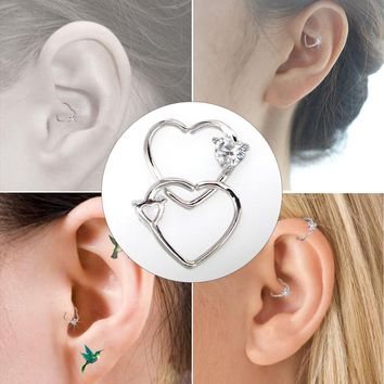 BODY PUNK Jewelry Heart CZ Left Closure Daith Cartilage 16 Gauge Heart Tragus Earrings 5 Colors Micro Circular Barbell Nose