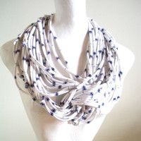 White Infinity Scarf Navy Blue Lavender Nautical Stripes Tribal Cowl Scarf Winter Scarf Upcycled Scarf Eco-Friendly Clothing Gifts Under 75