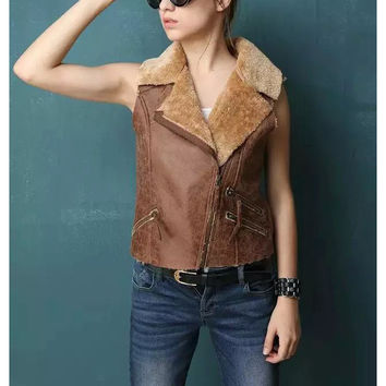 sleeveless vest women jackets 2016 new oblique zipper cropped faux fur leather female fashion loose coats plus