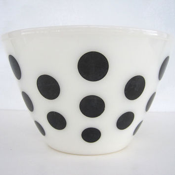 Fire King Polka Dot Bowl Black Splash Proof Mixing 1950s