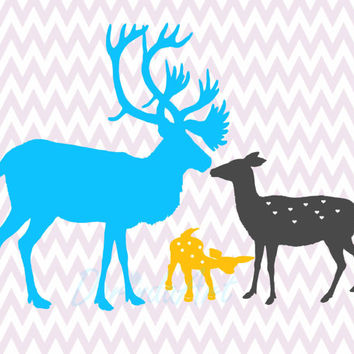 Deer printable decor Happy family Grey yellow turquoise Chevron Nursery print Wall art bedroom home decor gift Nursery poster Stag doe Fawn