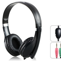 Kanen KM1080 Fashionable 3.5 mm On-ear Stereo Gaming Headphones with Microphone & 2.0 m Cable (Black)