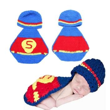 Hand-Knitted Crochet Baby superman Cap With Cloak Cape Clothing Set newborn photography Props Infant Toddler Crochet Baby Shower Gifts hats & Caps