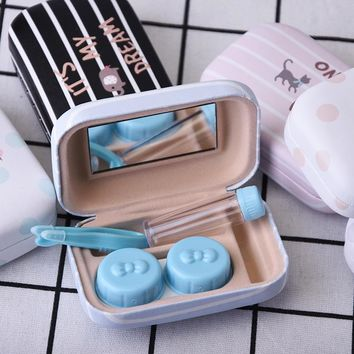 Character Printed Contact Lenses Case Square Containers Eyeglasses with Mirror Storage Case Accessories Estuche Lentes contacto